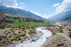 Beautiful scenery in Manang, Annapurna trail, nepal Royalty Free Stock Photography