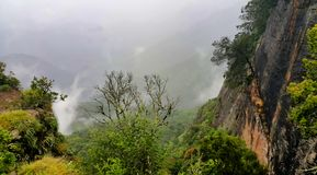 Beautiful Scenery Misty Valley of Mountain royalty free stock image