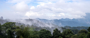 The beautiful scenery of mountains. Range view with cloud or mist Stock Images