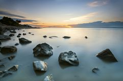 Beautiful scenery ocean view during sunset Stock Photo