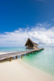Beautiful scenery over beach with the water villas Royalty Free Stock Photography