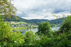 Beautiful scenery prospects around Rursee Stock Photography