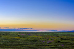 The beautiful scenery of Qinghai lake at sunset, Heimahe township, Qinghai province, China Stock Images