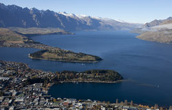 Beautiful scenery of the Queenstown bay, New zealand Royalty Free Stock Image