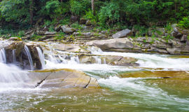 Beautiful scenery with river at mountains and little waterfall. Beautiful scenery with river at mountains and waterfall Royalty Free Stock Image