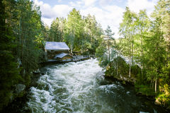 A beautiful scenery with a river rapids in Finland. In summer Stock Images