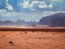 Free Beautiful Scenery Scenic Panoramic View Red Sand Desert And Ancient Sandstone Mountains Landscape In Wadi Rum, Jordan Stock Photography - 172196402