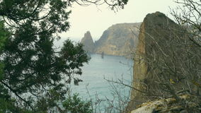 Beautiful scenery of sea and mountains through thuja branches. Autumn mountains in Crimea at the Black sea. Fiolent cape stock video footage