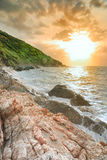 Beautiful scenery seascale in sunset time ,Thailand Royalty Free Stock Photos