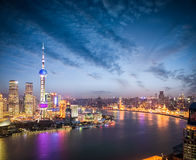 The beautiful scenery in shanghai in nightfall Stock Images