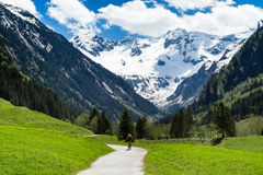 Beautiful scenery of Stiluptal on a sunny day with mountain peaks in the background. Stilluptal, Austria, Tyrol Royalty Free Stock Image