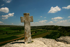 Beautiful scenery with a stone cross Royalty Free Stock Photos