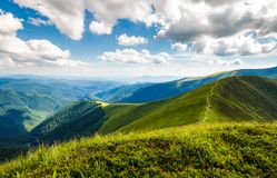 Beautiful scenery on a summer day in mountains. Wonderful place for hiking and spent time outside. good weather with some clouds on a sky Royalty Free Stock Photography