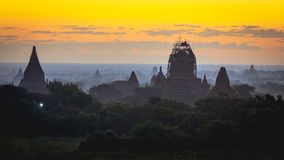 Beautiful scenery during sunrise at the pagoda of Bagan Royalty Free Stock Image