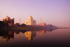 Beautiful Scenery Of Taj Mahal And A Body Of Water Royalty Free Stock Photos