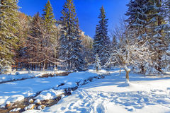 Beautiful scenery of Tatra mountains at snowy winter, Royalty Free Stock Image