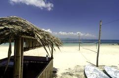 Beautiful scenery tropical sea view at Kapas Island, Malaysia.Bamboo hut and kayaks. stock images