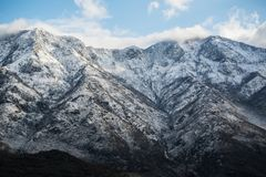 Beautiful scenery view of snowy mountains peak in Albanian alps Stock Photography
