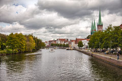 Beautiful scenery and waterways in Lubeck, Germany Stock Images