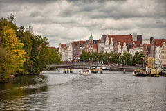 Beautiful scenery and waterways in Lubeck, Germany Royalty Free Stock Image