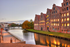Beautiful scenery and waterways at night in Lubeck Stock Image
