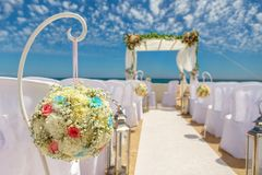 Beautiful scenery for a wedding arches in colors. On cape Senhora da Rocha. Royalty Free Stock Photography