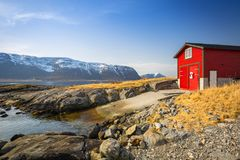 Beautiful scenery of west coastline. With fiords in Norway stock images