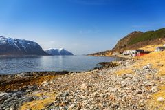 Beautiful scenery of west coastline. With fiords in Norway stock photography