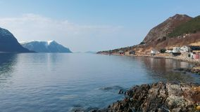 Beautiful scenery of west coastline in Norway stock footage