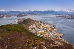 Beautiful scenery of west Norway. Coastline from the Sukkertoppen hill (Sugar Loaf Top&#x29 Stock Photo