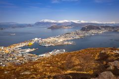 Beautiful scenery of west Norway. Coastline from the Sukkertoppen hill (Sugar Loaf Top&#x29 Stock Photos
