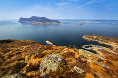 Beautiful scenery of west Norway. Coastline from the Sukkertoppen hill (Sugar Loaf Top&#x29 Stock Image