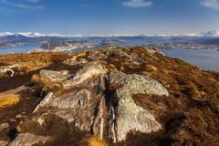 Beautiful scenery of west Norway. Coastline from the Sukkertoppen hill & x28;Sugar Loaf Top& x29 Stock Image