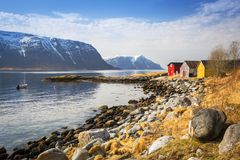 Beautiful scenery of west coastline. Beautiful scenery of west Norway coastline stock photography