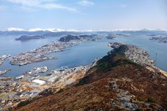 Beautiful scenery of west Norway coastline. From the Sukkertoppen hill royalty free stock photo