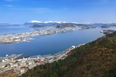 Beautiful scenery of west Norway coastline. From the Sukkertoppen hill stock photography