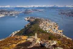 Beautiful scenery of west Norway. Coastline from the Sukkertoppen hill (Sugar Loaf Top&#x29 Royalty Free Stock Image