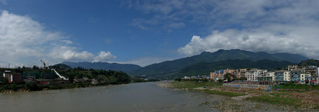 The beautiful scenery in Yaan. Blue sky and white clouds,the beautiful city is Ya an, Sichuan China Stock Photos
