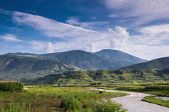 The beautiful scenery of Yi nationality. There is a national minority which called YiZu in Sichuan province of China. They have lived in DaLiangShan area for Stock Photo
