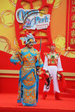 The beautiful scenes of the national epic. Hong Kong, China, Jan. 24: A bright colourful concert of dancing folklore ensemble. Actors in costumes are beautiful Royalty Free Stock Image