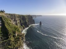 Beautiful Scenic Aerial drone view of Ireland Cliffs Of Moher in County Clare, Ireland. Royalty Free Stock Image