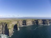 Beautiful Scenic Aerial drone view of Ireland Cliffs Of Moher in County Clare, Ireland. Royalty Free Stock Photos
