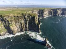 Beautiful Scenic Aerial drone view of Ireland Cliffs Of Moher in County Clare, Ireland. Stock Photo