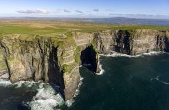 Beautiful Scenic Aerial drone view of Ireland Cliffs Of Moher in County Clare, Ireland. Stock Image