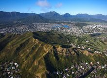 Beautiful Scenic aerial view Koko Head Crater Hiking Trail stock images