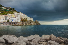 Beautiful scenic of amalfi coast in south italy most popular eur. Opean traveling destination royalty free stock photos