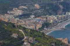 Beautiful scenic of amalfi coastal south italy important traveli. Ng destination in mediterranian sea stock photography