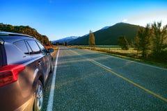 Beautiful scenic of asphalt highways of mount aspiring national Stock Image