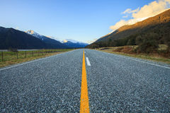 Beautiful scenic of asphalt highways of mount aspiring national Royalty Free Stock Photography