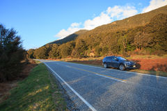 Beautiful scenic of asphalt highways of mount aspiring national Stock Photography